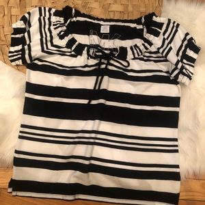 Michael kors striped blouse top polo M black white